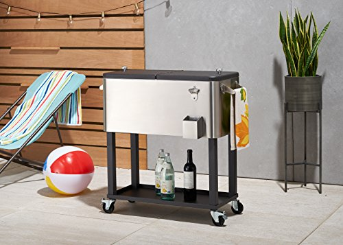 TRINITY 100QT Stainless Steel Cooler (Cooler Steel On Stainless Wheels)