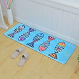 Blue Mats Thick French Fines Printed Carpets Fashion Bathroom Kitchen Absorbent Non-slip Mats 17.7 47 inches