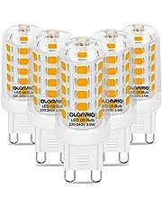 G9 Ledlamp, 3,5 W, warm wit, 3000 K, 5 stuks met 160 leds, 400 lumen, warm wit licht, vervangt 40 W G9 halogeenlampen, G9-gloeilamp met standaard pin G9-fitting, flikkert niet, duurzaam G9-lampen