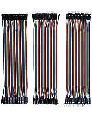 Elegoo 120 st Flerfärgad Duplex Kabel 40 Stift Hane till Hona, 40 Stift Hane till Hane, 40 Stift Hona till Hona Breadboard Jumper Trådar Bandkablar Kit för Arduino