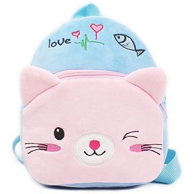Alician Lovely Blue Pink Carton Cat Soft Plush Backpack Bag for Kids Children: Toys & Games