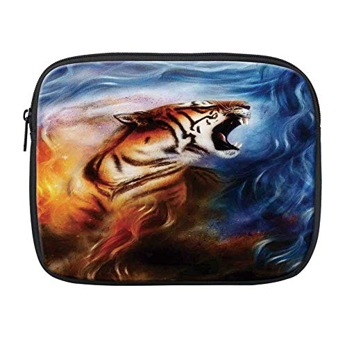 Safari Decor Compatible with Nice iPad Bag,Wild and Angry Tiger Portrait Fire Blue Flame Brave Mammal Jungle Forest King Fearless Roar for Office,One Size