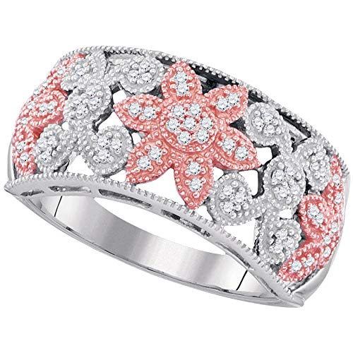 Jewels By Lux 10kt Two-tone Gold Womens Round Diamond Flower Band Ring 1/5 Cttw In Pave Setting (I2-I3 clarity; J-K color) Ring Size 7