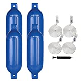 Leader Accessories Ribbed Twin Eyes Blue 6.5''x23'' Boat Fender Pack of 4 Includes 3/8'' Fender Lines Pack of 4 and Pump to Inflate