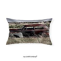 VROSELV Custom pillowcasesClunker on Prairie near Pine Ridge Indian Reservation in South Dakota. Abandoned Car in South Dakota. - Fabric Home Decor(16x20)
