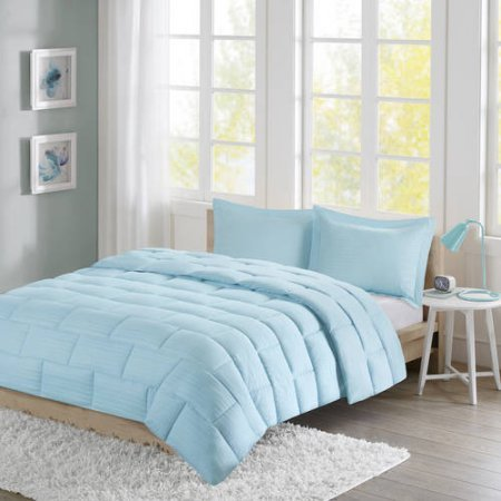 Ava Comforter Set (Home Essence Apartment Ava Seersucker Down Alternative Full/Queen Comforter Mini Set in Aqua)
