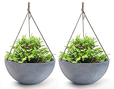 Hanging Planters Large 13.2 in Resin Flower Pots Outdoor, Garden Planters for Plants, Large Grey, Set of 2