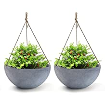 Hanging Planters Large 13.8 In Resin Flower Pots Outdoor, Garden Planters for Plants, Large Grey, Set of 2 for Mothers Day Gift