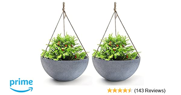 163 & Hanging Planters Large 13.2 Inch Resin Flower Pots Outdoor Garden Planters for Plants Large Grey Set of 2
