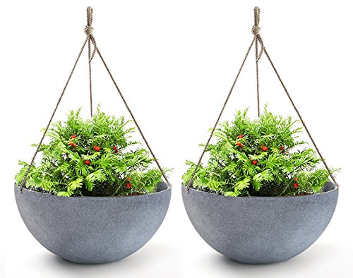 Hanging Planters Large 13.2 in Resin Flower Pots Outdoor, Garden Planters for Plants, Large Grey, Set of - Baskets Plastic Hanging