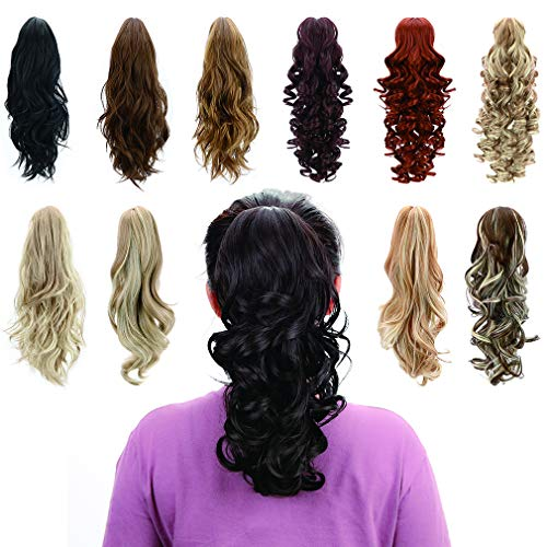 Jaw Claw Clip In Ponytail - Synthetic Fiber Ponytails Clips On Hair Extensions Curly Wavy Pony Tail Hairpieces for Women Grils, Natural Black]()