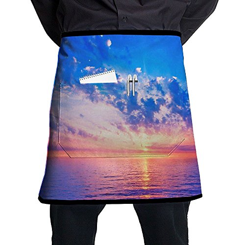 River Mirrors Skys Color Pattern Stylist Waist Chef Apron With Pockets, Restaurant Short Bistro Family Half Aprons For Men Women, 21.3 X 17.7 Inches, Black by Muchess