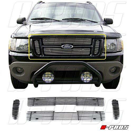A-PADS Chrome Grille Trim for Ford Explorer Sport/Sport Trac 2001-2006 | 4 Piece Upper Bolt-On ()