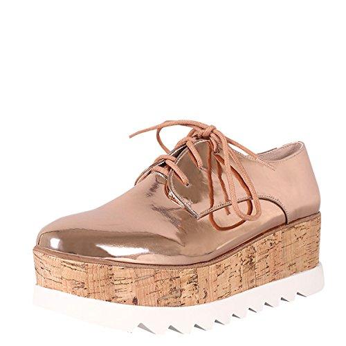 Toe Metallic Creeper Round Lug Gold Bamboo Heel Rose Cork Wedge Sneakers Up Lace Sole Womens Platform Oxford AE8SEWqX