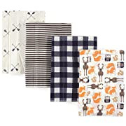 Hudson Baby Baby Flannel Burp Cloth, 4 Pack, Forest, One Size