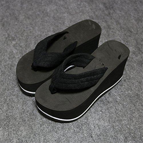Forme Chaussures Talon Femmes Plate Sandales Lalang Noir Plage Compensé Tongs Claquettes de 78EqwgBw