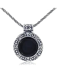 Antique Style Floral Design Round Gemstone Necklace with 925 Sterling Silver Twisted Foxtail Chain, 20""