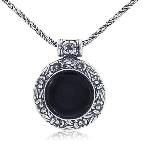Antique Style Black Onyx Pendant Round Floral Design 925 Sterling Silver Gemstone Necklace, -
