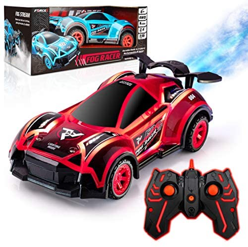 Force1 Fog Racer Remote Control Car - Fast RC Car High Speed LED Light Race Car Toy, Rechargeable 2WD Toy Cars with Rear Fog Mist, 2 LED Car Light Shells, 5 LED Light Modes, 2.4 GHZ Remote (Red/Blue)