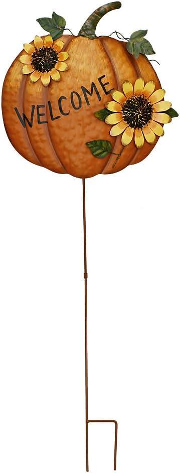 Pumpkin Garden Stake Metal Welcome Sign Fall Decor, Decorative Pumpkin Yard Garden Décor Outdoor for Autumn Harvest Thanksgiving Halloween Rustic Pumpkin Decoration for Home (1, 14inX36.75in)