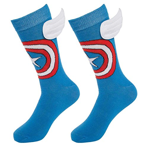 Bioworld (1 Pair) Superhero Socks Men's Crew, Colorful Comic-Book Characters, Fits Shoe Size 8-12