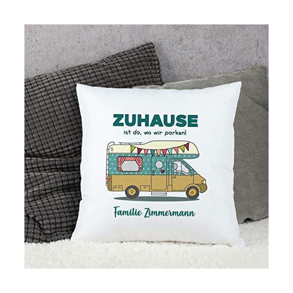 51iAUOIm7fL Herz & Heim® Deko-Kissen für Camper - Zuhause ist da, wo wir parken! - mit Gratis Druck Ihres Wunschtextes Wohnmobil