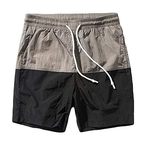 Allywit M-5XL Men's Summer Jogger Shorts Recreational Sports Fitness Pants Elastic Waist with Pockets Black