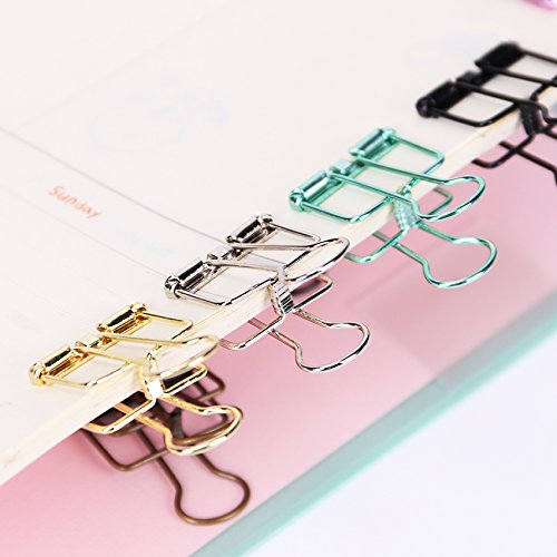 Funnmart 10PCS Novelty Solid Color Hollow Out Metal Binder Clips 20mm Notes Letter Paper Clips Office Stationery Supplies