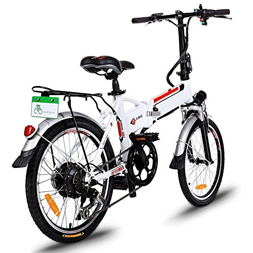 Lantusi Power Plus Folding Electric Mountain Bike 18.7 inch Wheel Aluminum Alloy Frame Bicycle with Lithium-Ion Battery White (US Stock)