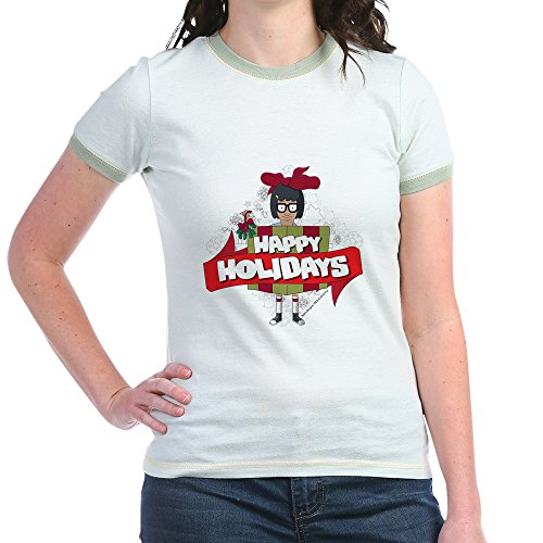 CafePress - Bob's Burgers Tina Holiday - Jr. Ringer T-Shirt, Slim Fit 100% Cotton Ringed Shirt ()