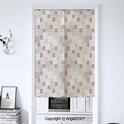 AngelDOU Asian Japanese Durable Doorway Curtains Oriental Checkered Pattern Grid Style Patchwork -