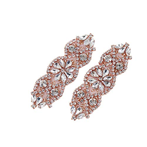 Brooch Rose Gold ((2pcs)Bridal Rhinestone Applique Gold, Wedding Appliques Classic Style Sewing Iron on Hot Fix for DIY Bridal Wedding Dress Sash Women Crystal Belt - Rose Gold)