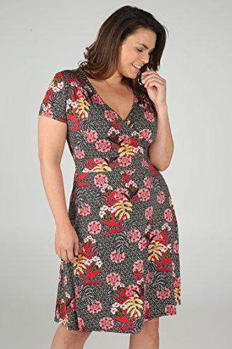 Schwarz große Kleid Größen Tropischen Bedrucktes Mit Blumen PAPRIKA Damen 5Rzcq818