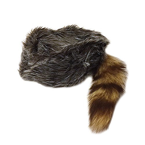 (Nekid Cow USA Authentic Davy Crockett Daniel Boone Real Tail Cap Hat Large)