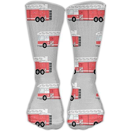 Fire White Cotton Spandex - Unisex Unique Design Firetruck Socks 30CM Socks Cotton/nylon/spandex.