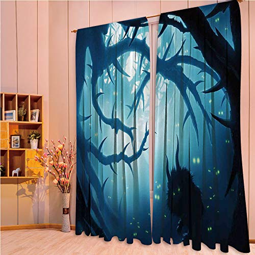 ZHICASSIESOPHIER Modern Style Room Darkening Blackout Window Treatment Curtain Valance for Kitchen/Living Room/Bedroom/Laundry,Burning Eyes in Dark Forest at Night Horror Halloween 84Wx84L Inch]()