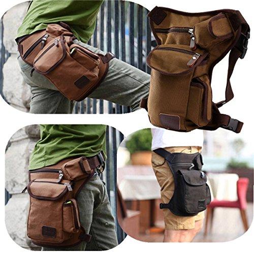 ELEGIANT Mode Hüfttasche Reisen Sport Beinbeutel Multi Pack Leg Drop Utility Bag Security Bein- und Gürtelbefestigung Schwarz