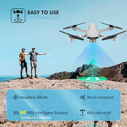 4DRC F3 GPS Drone 4K with FPV Camera Live Video,Foldable Drone for Adults,RC Quadcopter for Beginners,with Auto Return Home, Follow Me,Dual Cameras,Waypoints, Long Control Range,1 Extra Battery+Pack 51iAVEg8lDL