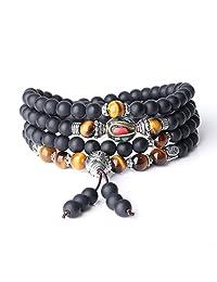 AmorWing Tibetan Multilayer 6mm Onyx and Tiger Eye Gemstone Mala Prayer Bracelet/Necklace