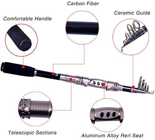 Agepoch Telescopic Fishing Rod Portable Carbon Fiber Spinning Fishing Pole for Outdoor Sport Travel Surf Freshwater Fishing