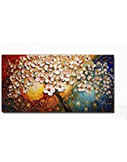 Hand Painted Acrylic Flowers canvas wall art oil painting Without Frame 100x70 cm