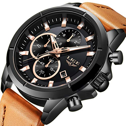 LIGE Mens Watch Dress Waterproof Chronograph Brown Leather Strap Watches Business Sport Date Analog Quartz Watch