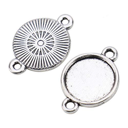 (JETEHO 100 Pcs 12mm Round Metal Pendant Tray Blanks Double Loops Cabochon Pendant Tray Blanks Cameo Bezel Settings)