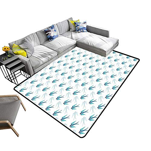 alsohome Non Slip Absorbent Carpet Flying Birds in The Noble Wings Fight Independence Day Home Blue No Chemical Odor 24 x 40 inch