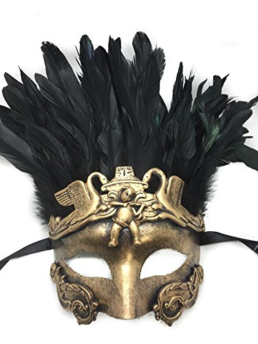 Gold or Silver Antique Roman Egyptian Greek Ancient God Mardi Gras Style Masquerade Mask with Feather (Gold)