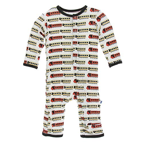 Kickee Pants Little Boys Print Coverall with Snaps - Natural Indian Train, 12-18 Months]()