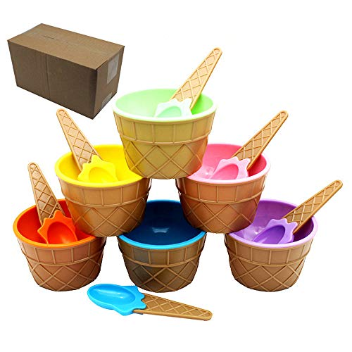 (MonLiya 6 Pcs Ice Cream Dessert Bowls Ice Cream Scoop Set Sundae Cup Milkshake Cup Colorful Salad Dishes Fruit Salad Sundae Snack Frozen Yogurt Bowls Kit Home Kitchen Party Accessories )
