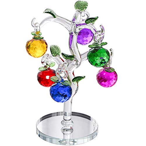 Crystal Apple Tree Decorative Artificial Tree Colorful Crystal Ornaments for Home Bedroom Office Bar Desk Decoration Party Wedding Xmas Birthday Festival Gifts -