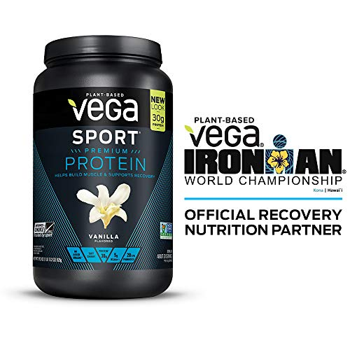 Vega Sport Premium Protein, Vanilla, 20 Servings, 29.2 Ounce, Plant-Based Vegan Protein Powder, BCAAs, Amino Acid, tart cherry, Non Whey, Gluten Free, Non GMO (Packaging May Vary)