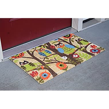 Kempf Forrest Owls Coco Door Mat with Vinyl Backing (22  x 47 )